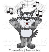 Vector Illustration of a Cartoon Husky Mascot Singing by Toons4Biz