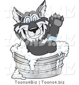 Vector Illustration of a Cartoon Husky Mascot Using Soap in a Metal Tub by Toons4Biz