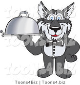 Vector Illustration of a Cartoon Husky Mascot Waiter Carrying a Platter by Toons4Biz