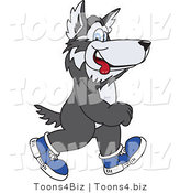 Vector Illustration of a Cartoon Husky Mascot Walking in Shoes by Toons4Biz