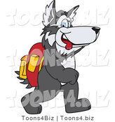 Vector Illustration of a Cartoon Husky Mascot Walking to School by Toons4Biz
