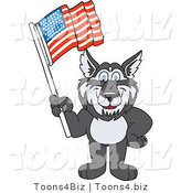 Vector Illustration of a Cartoon Husky Mascot Waving an American Flag by Toons4Biz