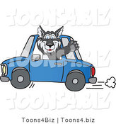 Vector Illustration of a Cartoon Husky Mascot Waving and Driving a Car by Toons4Biz