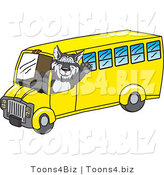 Vector Illustration of a Cartoon Husky Mascot Waving and Driving a School Bus by Toons4Biz