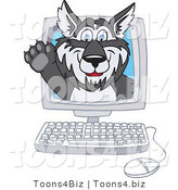 Vector Illustration of a Cartoon Husky Mascot Waving on a Computer Screen by Toons4Biz
