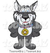 Vector Illustration of a Cartoon Husky Mascot Wearing a Medal by Toons4Biz