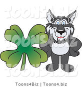 Vector Illustration of a Cartoon Husky Mascot with a Four Leaf Clover by Toons4Biz