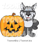 Vector Illustration of a Cartoon Husky Mascot with a Halloween Pumpkin by Toons4Biz