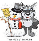 Vector Illustration of a Cartoon Husky Mascot with a Snowman by Toons4Biz