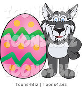 Vector Illustration of a Cartoon Husky Mascot with an Easter Egg by Toons4Biz
