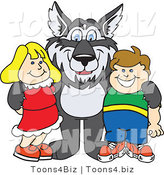 Vector Illustration of a Cartoon Husky Mascot with Students by Toons4Biz
