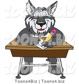 Vector Illustration of a Cartoon Husky Mascot Writing on a School Desk by Toons4Biz
