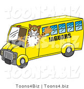 Vector Illustration of a Cartoon Jaguar Mascot Driving a Bus by Toons4Biz