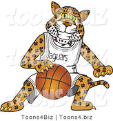 Vector Illustration of a Cartoon Jaguar Mascot Playing Basketball by Toons4Biz
