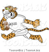 Vector Illustration of a Cartoon Jaguar Mascot Playing Football by Toons4Biz