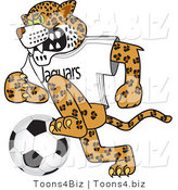 Vector Illustration of a Cartoon Jaguar Mascot Playing Soccer by Toons4Biz