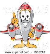Vector Illustration of a Cartoon Jet Aircraft Mascot with Number One Finger Pointing up Towards Sky by Toons4Biz