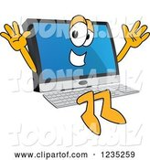 Vector Illustration of a Cartoon Jumping PC Computer Mascot by Toons4Biz