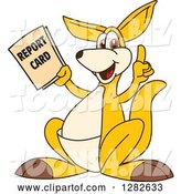 Vector Illustration of a Cartoon Kangaroo Mascot Holding up a Finger and Report Card by Toons4Biz