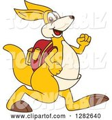 Vector Illustration of a Cartoon Kangaroo Mascot Student Walking by Toons4Biz