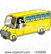 Vector Illustration of a Cartoon Killer Whale Orca Mascot Driving a School Bus by Toons4Biz
