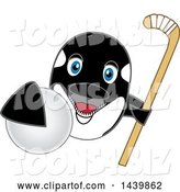 Vector Illustration of a Cartoon Killer Whale Orca Mascot Grabbing a Hockey Ball and Holding a Stick by Toons4Biz
