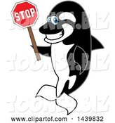 Vector Illustration of a Cartoon Killer Whale Orca Mascot Holding a Stop Sign by Toons4Biz