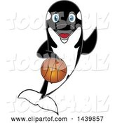 Vector Illustration of a Cartoon Killer Whale Orca Mascot Playing Basketball by Toons4Biz