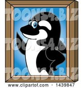 Vector Illustration of a Cartoon Killer Whale Orca Mascot Portrait by Toons4Biz
