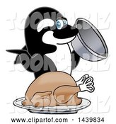 Vector Illustration of a Cartoon Killer Whale Orca Mascot Serving a Thanksgiving Turkey by Toons4Biz