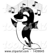 Vector Illustration of a Cartoon Killer Whale Orca Mascot Singing by Toons4Biz
