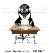 Vector Illustration of a Cartoon Killer Whale Orca Mascot Student Taking a Quiz by Toons4Biz