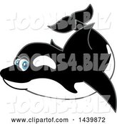 Vector Illustration of a Cartoon Killer Whale Orca Mascot Swimming by Toons4Biz