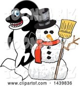 Vector Illustration of a Cartoon Killer Whale Orca Mascot with a Snowman by Toons4Biz