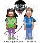 Vector Illustration of a Cartoon Killer Whale Orca Mascot with Happy Students by Toons4Biz