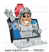 Vector Illustration of a Cartoon Knight Mascot Emerging from a Computer Screen by Toons4Biz
