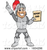 Vector Illustration of a Cartoon Knight Mascot Holding a Report Card by Toons4Biz