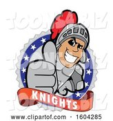 Vector Illustration of a Cartoon Knight Mascot Holding a Thumb up on a Badge by Toons4Biz