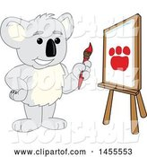 Vector Illustration of a Cartoon Koala Bear Mascot Artist Painting a Canvas by Toons4Biz