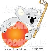 Vector Illustration of a Cartoon Koala Bear Mascot Holding a Hockey Stick and Grabbing a Field Ball by Toons4Biz