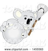 Vector Illustration of a Cartoon Koala Bear Mascot Holding a Lacrosse Stick and Grabbing a Ball by Toons4Biz