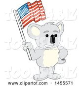 Vector Illustration of a Cartoon Koala Bear Mascot Holding an American Flag by Toons4Biz