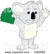 Vector Illustration of a Cartoon Koala Bear Mascot Holding up Cash Money by Toons4Biz