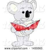 Vector Illustration of a Cartoon Koala Bear Mascot Reading a Book by Toons4Biz