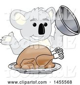 Vector Illustration of a Cartoon Koala Bear Mascot Serving a Roasted Thanksgiving Turkey by Toons4Biz