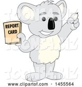 Vector Illustration of a Cartoon Koala Bear Mascot Student Holding a Report Card by Toons4Biz