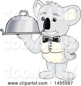 Vector Illustration of a Cartoon Koala Bear Mascot Waiter Holding a Cloche Platter by Toons4Biz