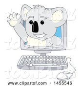 Vector Illustration of a Cartoon Koala Bear Mascot Waving and Emerging from a Computer by Toons4Biz