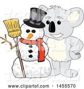 Vector Illustration of a Cartoon Koala Bear Mascot with a Christmas Winter Snowman by Toons4Biz