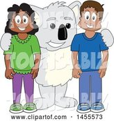 Vector Illustration of a Cartoon Koala Bear Mascot with Students by Toons4Biz